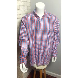 Express Mens Fitted Shirt Red Blue XL EUC